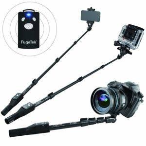 Fugetek FT-568 Professional High End Alloy Selfie Stick Monopod, Bluetooth Remote For Apple, Android, DLSR Cameras (Black)